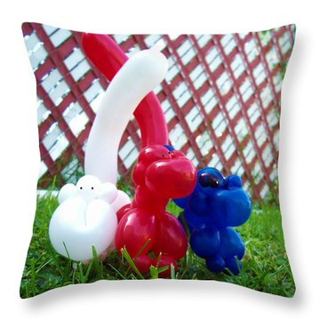 Throw Pillow featuring the photograph Playful Balloon Monkeys by Shawna Rowe