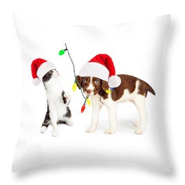 Playful Christmas Kitten And Puppy Throw Pillow by Susan Schmitz