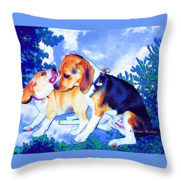 Throw Pillow featuring the mixed media Playful Combat by KLM Kathel
