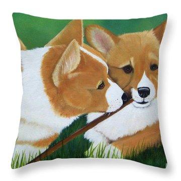Playful Corgis Throw Pillow by Debbie LaFrance