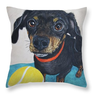 Playful Dachshund Throw Pillow by Megan Cohen