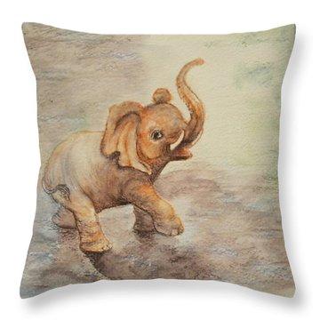 Playful Elephant Baby Throw Pillow