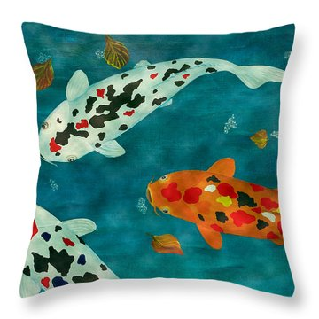 Throw Pillow featuring the painting Playful Koi Fishes Original Acrylic Painting by Georgeta Blanaru