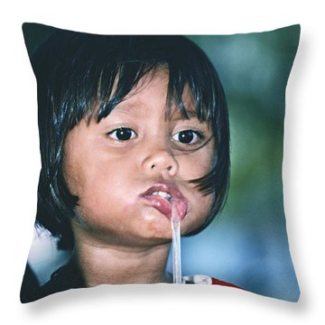 Throw Pillow featuring the photograph Playful Little Girl In Thailand by Heiko Koehrer-Wagner