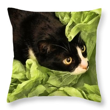 Playful Tuxedo Kitty In Green Tissue Paper Throw Pillow
