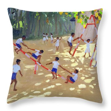 Playground Sri Lanka Throw Pillow by Andrew Macara