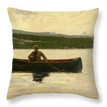 Playing A Fish Throw Pillow by Winslow Homer
