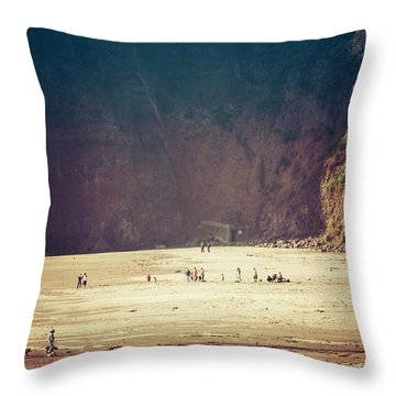 Playing Along Oceanside Oregon Throw Pillow by Amyn Nasser