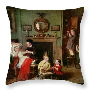 Playing At Doctors Throw Pillow by Frederick Daniel Hardy