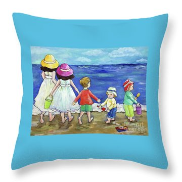 Throw Pillow featuring the painting Playing At The Seashore by Rosemary Aubut