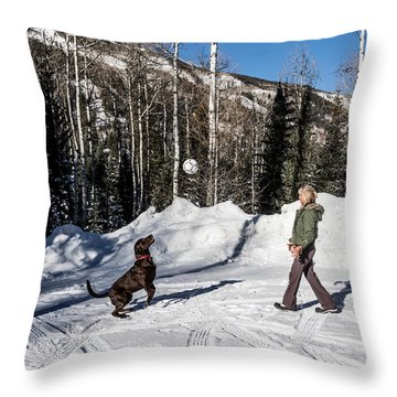 Playing Ball With A Beautiful Chocolate Lab Throw Pillow