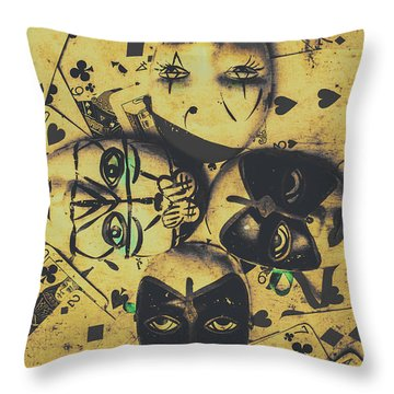 Playing Card Of A Vintage Masquerade Throw Pillow