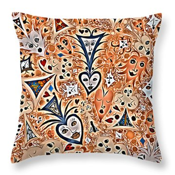 Playing Card Symbols With Faces In Rust Throw Pillow