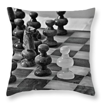 Throw Pillow featuring the photograph Playing Chess by Cendrine Marrouat