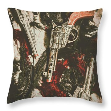 Playing Cowboys And Indians Throw Pillow