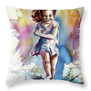 Throw Pillow featuring the painting Playing Girl by Kovacs Anna Brigitta