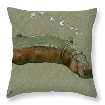 Playing Hippo Throw Pillow by Juan  Bosco