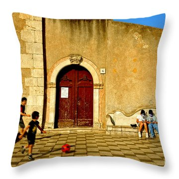Playing In Taormina Throw Pillow by Silvia Ganora