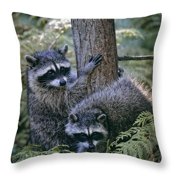 Playing In The Woods Throw Pillow