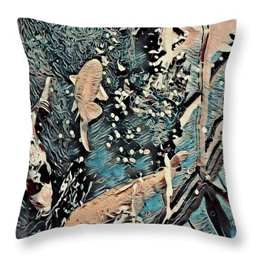 Throw Pillow featuring the digital art Playing It Koi by Mindy Newman