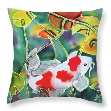 Playing Koi Throw Pillow