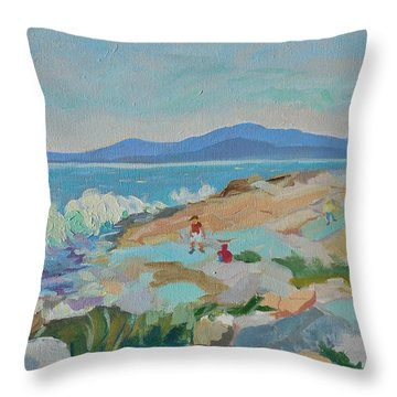 Playing On Schoodic Rocks Throw Pillow by Francine Frank