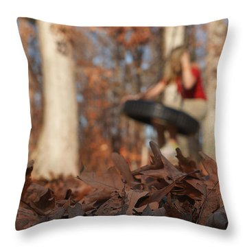 Throw Pillow featuring the photograph Playing On The Tire Swing by Greg Collins