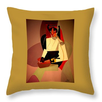 Playing The Mandolin Throw Pillow