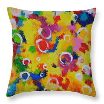 Playing With Soap Throw Pillow