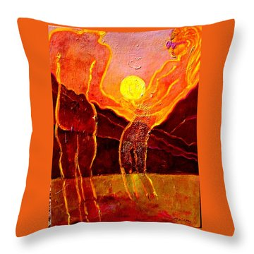 Playing With The Moon Throw Pillow