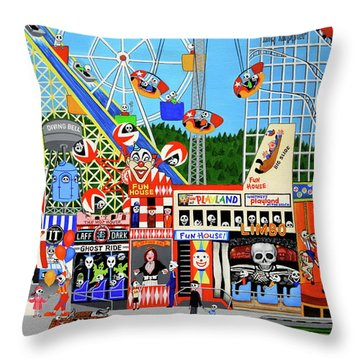 Playland In The Afterlife Throw Pillow by Evangelina Portillo
