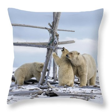 Playtime In The Arctic Throw Pillow