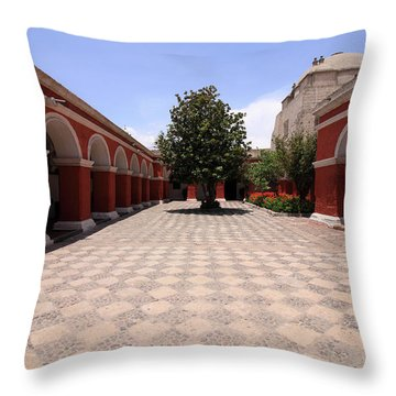 Plaza At Santa Catalina Monastery Throw Pillow by Aidan Moran