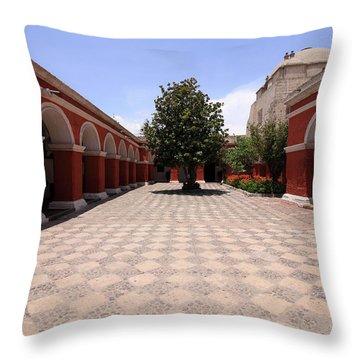 Throw Pillow featuring the photograph Plaza At Santa Catalina Monastery by Aidan Moran