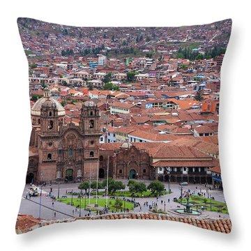Throw Pillow featuring the photograph Plaza De Armas, Cusco, Peru by Aidan Moran