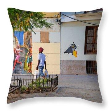 Plaza De Carme. Valencia Throw Pillow