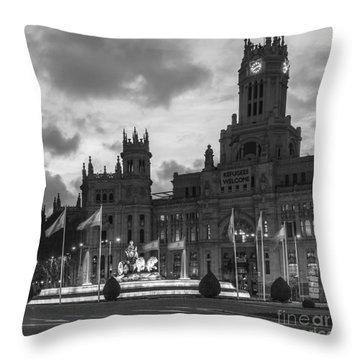 Plaza De Cibeles Fountain Madrid Spain Throw Pillow