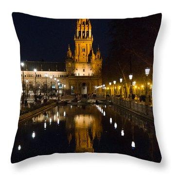 Plaza De Espana At Night - Seville 6 Throw Pillow