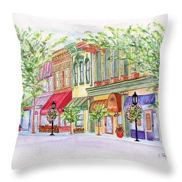 Plaza Shops Throw Pillow