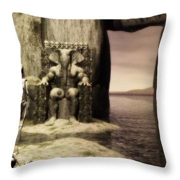 Throw Pillow featuring the digital art Plea Of The Penitent To The Lord Of Perdition by John Alexander