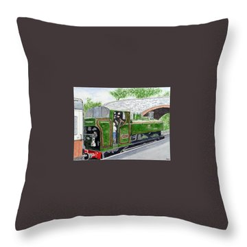 Please May I Drive? - Llangollen Steam Railway, North Wales Throw Pillow by Peter Farrow