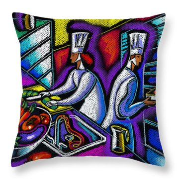 Throw Pillow featuring the painting  Pleasure Of The Food Preparation by Leon Zernitsky