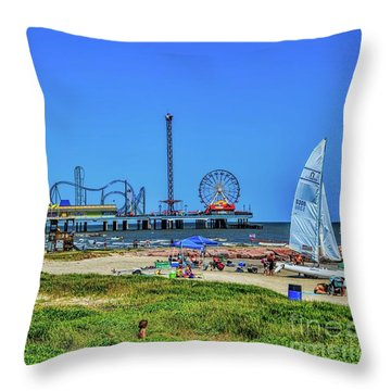 Pleasure Pier Sunny Day Throw Pillow