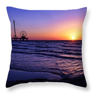 Pleasure Pier Sunrise Throw Pillow by Judy Vincent