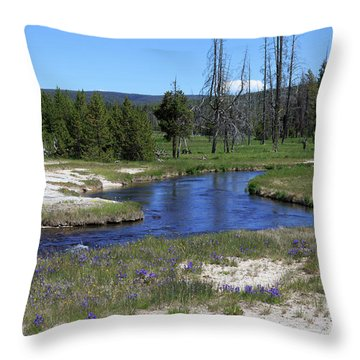 Pleated Gentians Beside Iron Creek In Black Sand Basin Throw Pillow by Louise Heusinkveld