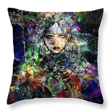 Pleiadian Bird Tribe Priestess Throw Pillow
