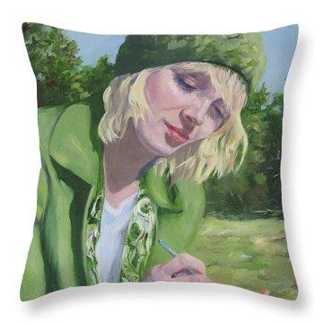 Plein Air Crocheting Throw Pillow
