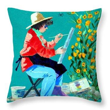 Plein Air Painter  Throw Pillow
