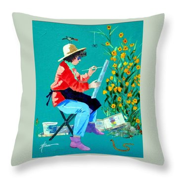 Plein Air Painter  Throw Pillow