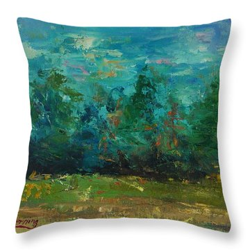 Plein Air With Palette Knives Throw Pillow by Carol Berning